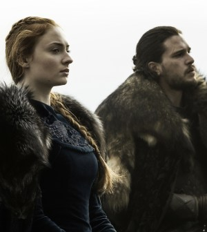 Pictured: Sophie Turner as Sansa Stark and Kit Harington as Jon Snow Credit: Helen Sloan/HBO