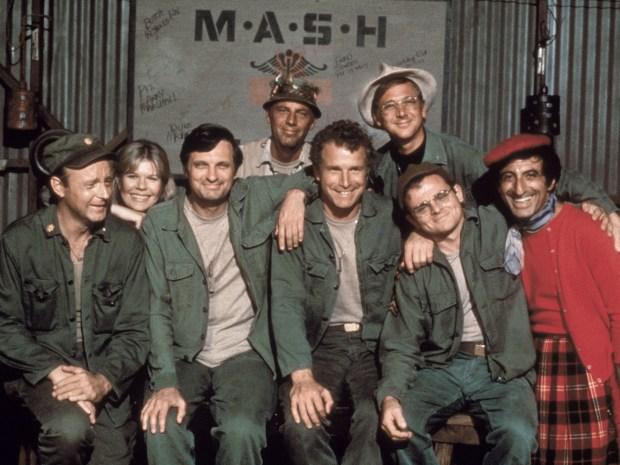 McLean Stevenson (left) William Christopher (top row); Larry Linville, Loretta Swit, Alan Alda, Wayne Rogers, Gary Burghoff and Jamie Farr (bottom row, from left)