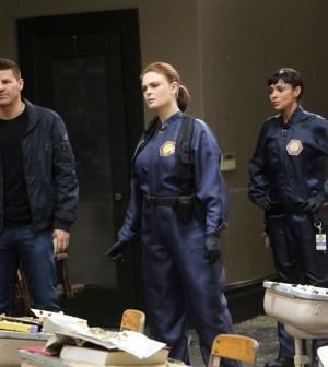 "BONES: L-R: David Boreanaz, Emily Deschanel and Tamara Taylor in the ""The Nightmare Within The Nightmare"" season finale episode of BONES. Co.  Cr:  Patrick McElhenney/FOX"