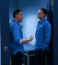 Pictured: (l-r) Erik Palladino as Kevin Miller, Patrick J. Adams as Michael Ross -- (Photo by: Shane Mahood/USA Network)