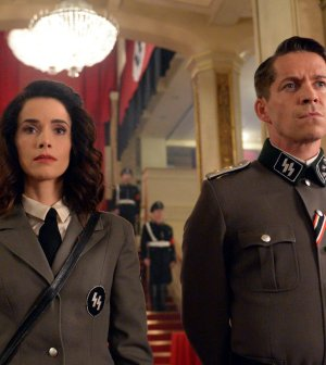 Pictured: (l-r) Abigail Spencer as Lucy Preston, Sean Maguire as Ian Fleming -- (Photo by: Sergei Bachlakov/NBC)