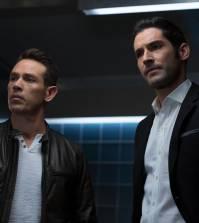 LUCIFER: L-R: Kevin Alejandro and Tom Ellis in Lucifer | Co. Cr: Michael Courtney/FOX.