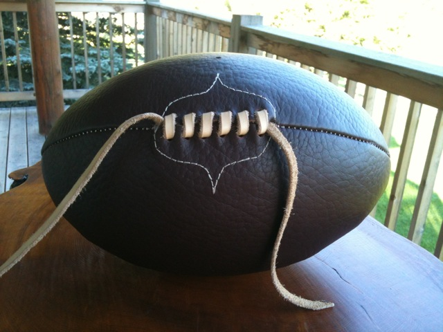 Hand made rugby ball