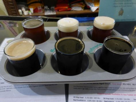 First taster flight. Note how dark the beers in the back are as well.