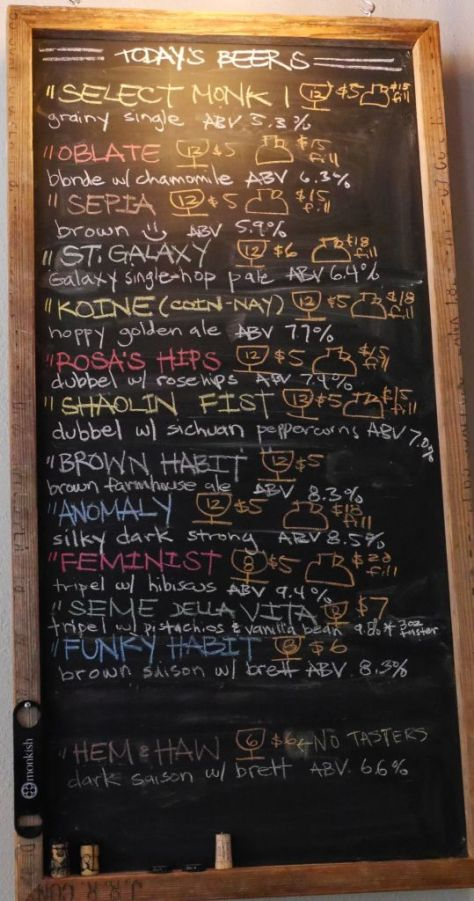 Tap list when I visited.
