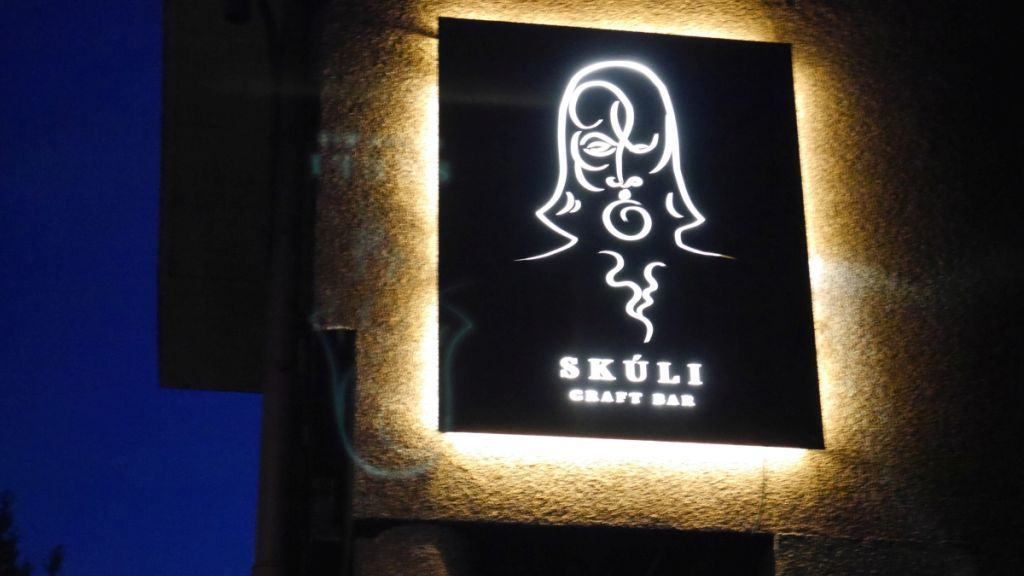Look for this awesome sign outside when trying to find Skuli.
