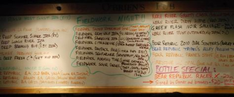 O'Brien's Tap List for Fieldwork Day.
