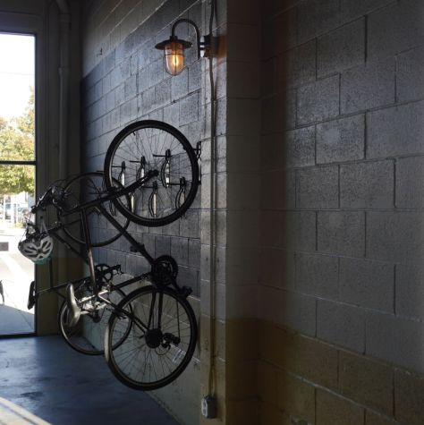 To draw a specific type of crowd they even have hangers on the wall for bikes.