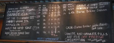 Tap list when I visited the brewery on June 16, 2016.