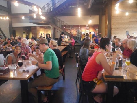 The brewery had a huge beer hall feel to it inside.