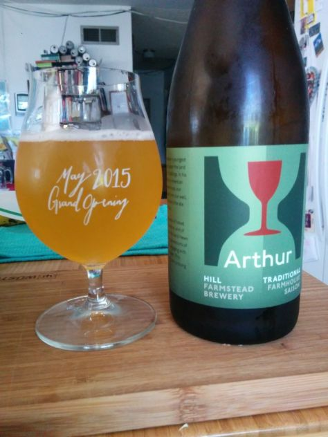Enjoying a bottle of Arthur at home.