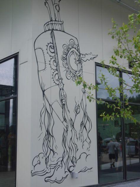 Crazy cool wall art outside.