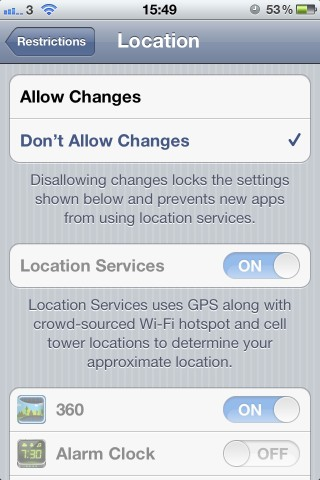 How to turn off access to location settings