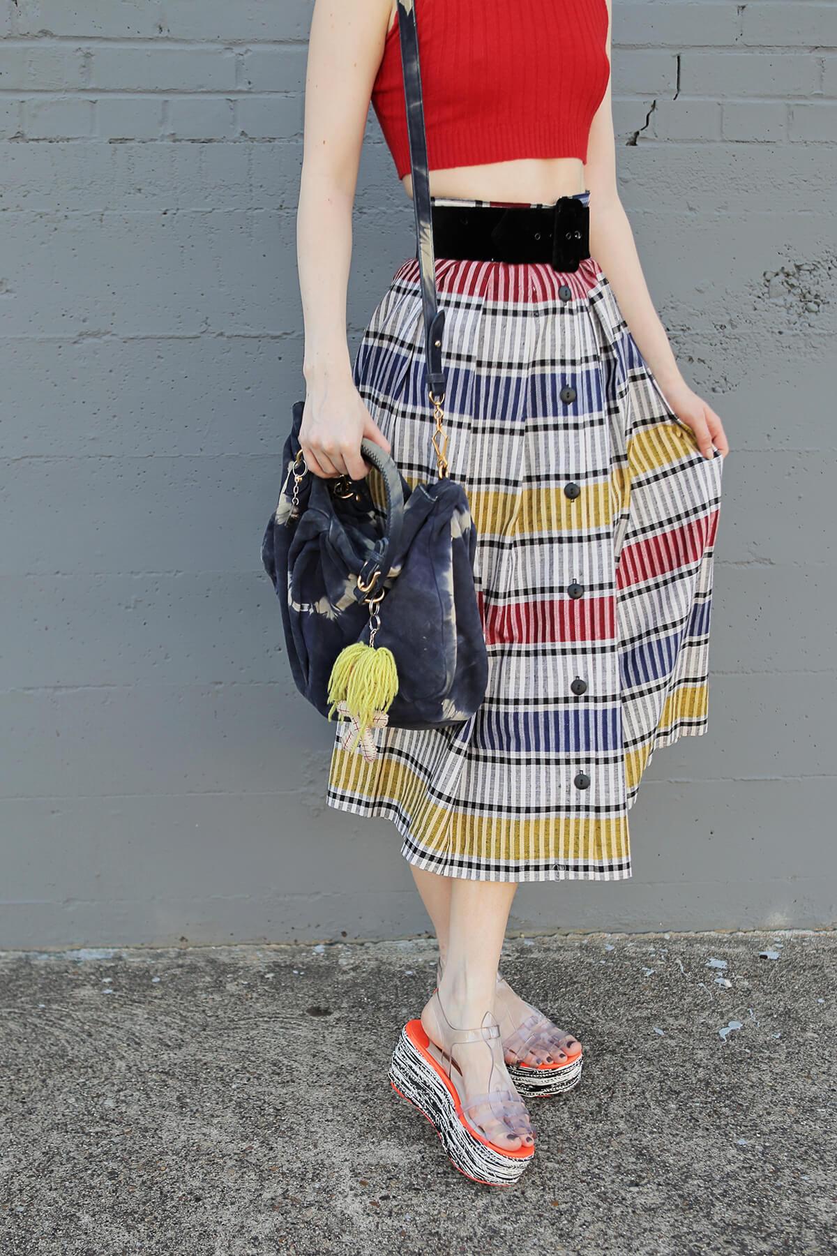 striped midi skirts