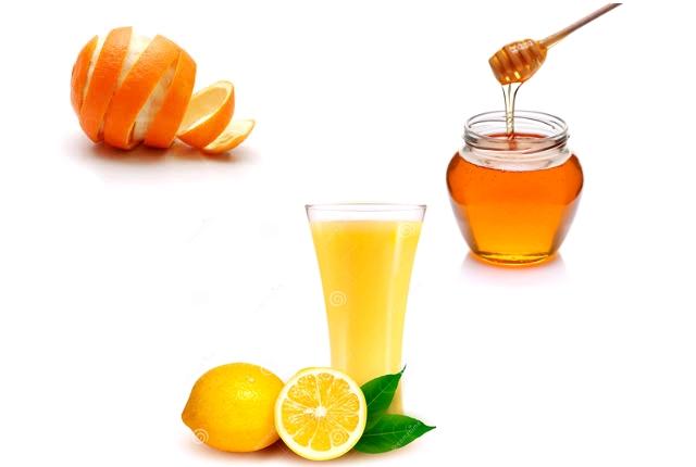 Orange peel powder with honey lemon juice