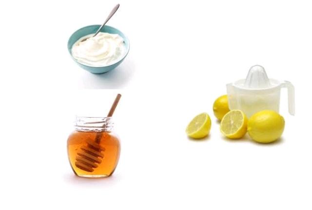 Yogurt honey lemon juice mask