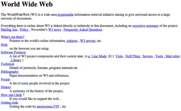 This is what the world's first website looked like.