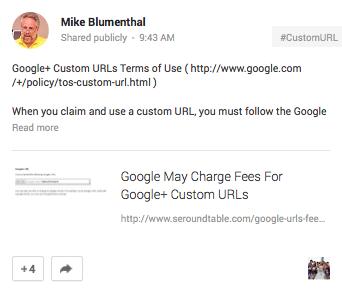 Mike Blumenthal G+ vanity URL post
