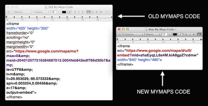 Google My Maps Embed Code Before and After - Search Influence