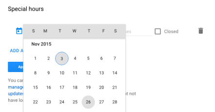 choose the holiday date for special hours