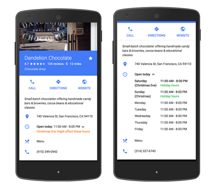 google my business special hours example