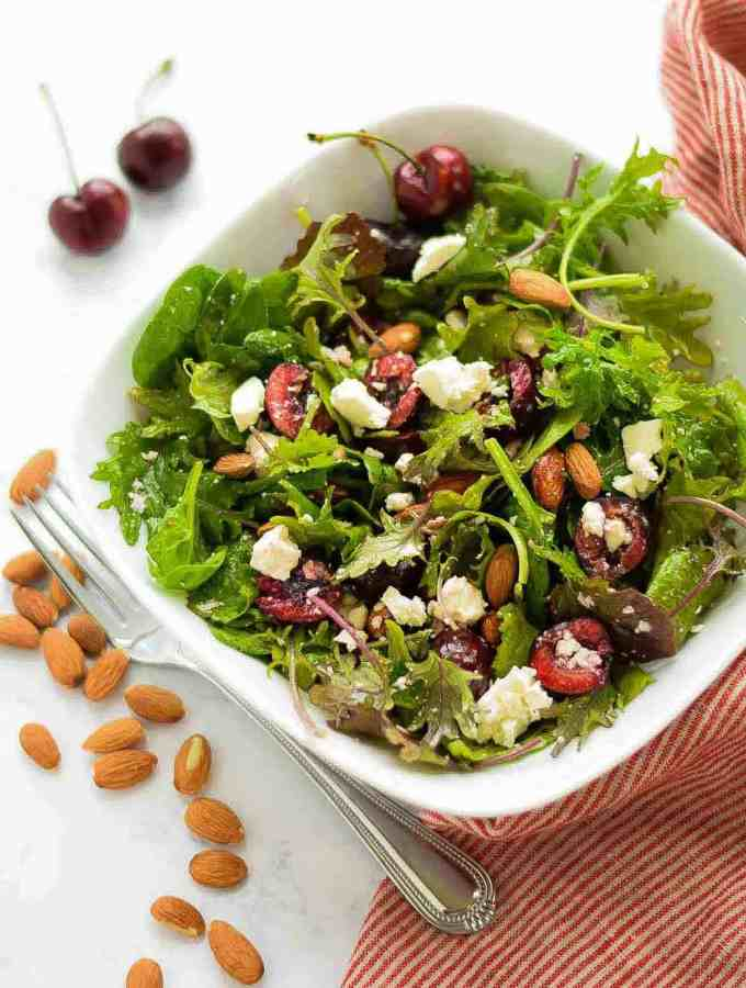 Supergreens Salad with Cherries and Feta