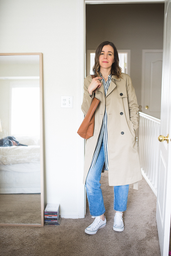 Everlane Swing Trench, Vintage Levi's, Cuyana Classic Tote