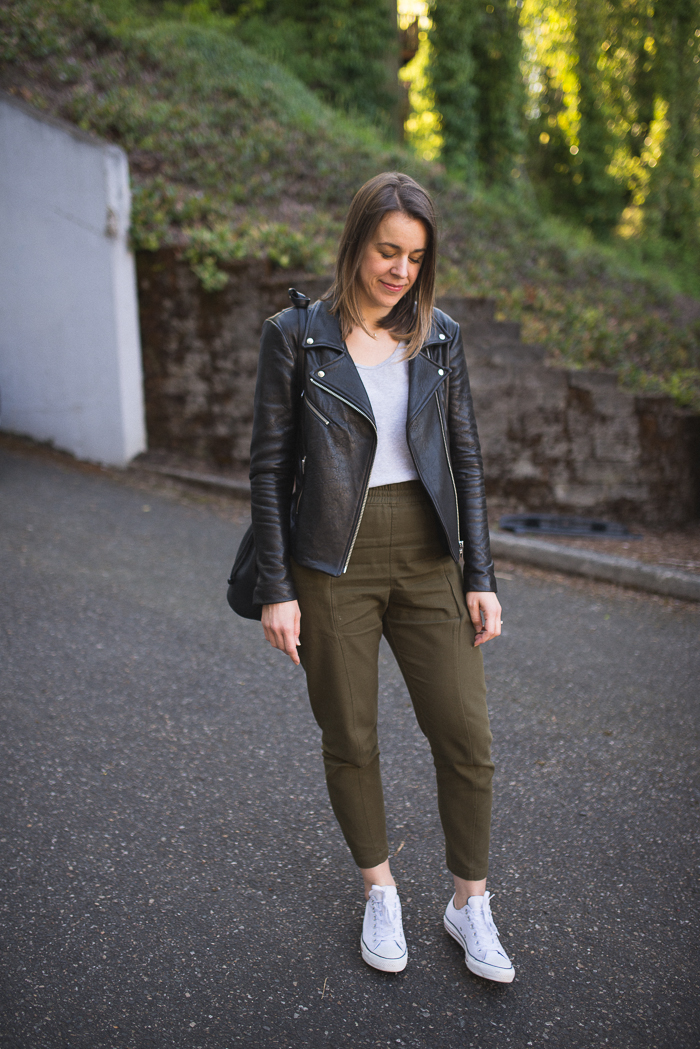 Clyde Workpant, Reformation x Veda Leather Jacket