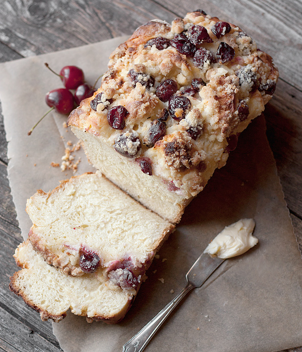 Sweet Yeast Bread with a Cream Cheese, Fresh Cherry and Crumble Topping