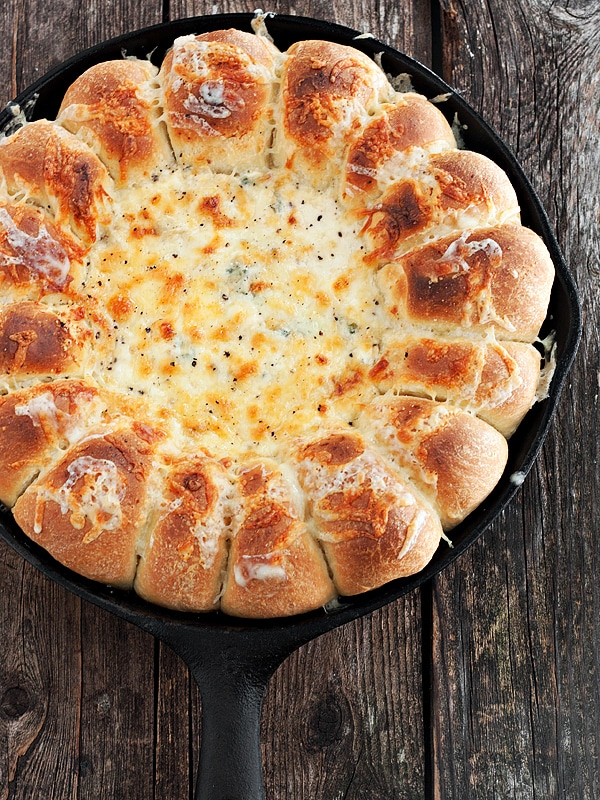 Warm Skillet Bread and Artichoke Spinach Dip