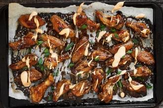 Teriyaki Chicken Wings with Sriracha Cream Drizzle