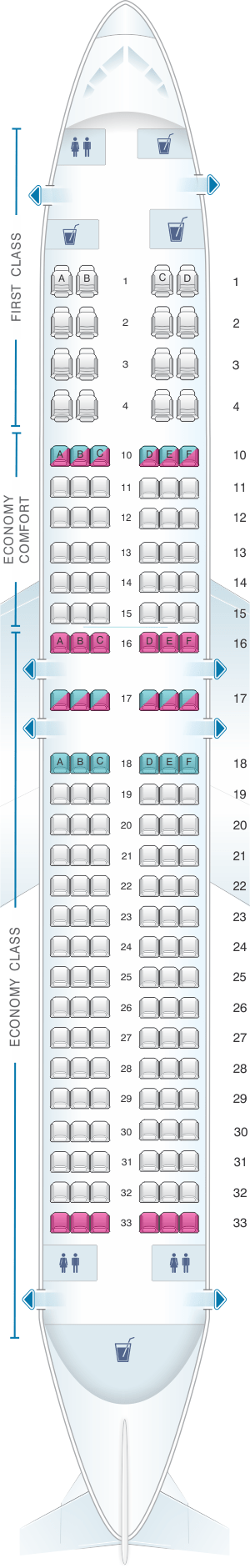 Seat Map For Delta Air Lines Boeing B737 800 738