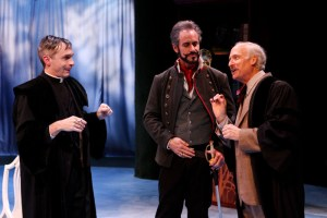 """George Mount as Sir Nathaniel, David Quicksall as Don Armado and Allan Armstrong as Holofernes in Seattle Shakespeare Company's 2013 production of """"Love's Labour's Lost."""" Photo by John Ulman."""