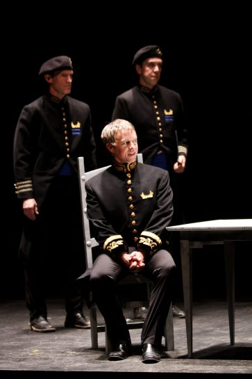 "Nick Rempel as Agrippa, Darragh Kennan as Octavius, and John Bogar as Meacenas in Seattle Shakespeare Company's 2012 production of ""Antony and Cleopatra."" Photo by John Ulman."