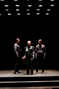 """John Bogar as Meacenas, Darragh Kennan as Octavius, and Nick Rempel as Agrippa in Seattle Shakespeare Company's 2012 production of """"Antony and Cleopatra."""" Photo by John Ulman."""