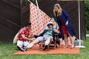 "Justin Huertas as Feste, Jim Gall as Sir Toby Belch and Emily Grogan as Olivia in Seattle Shakespeare Company's 2012 Wooden O production of ""Twelfth Night."" Photo by John Ulman."