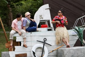 """Connor Toms as Orsino, Emily Chisholm as Viola, and Justin Huertas as Feste in Seattle Shakespeare Company's 2012 Wooden O production of """"Twelfth Night."""" Photo by John Ulman."""