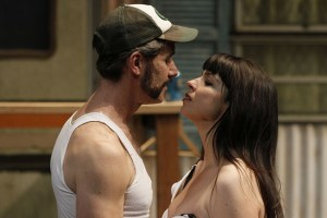 """David Quicksall as Petruchio and Kelly Kitchens as Kate in Seattle Shakespeare Company's 2013 production of """"The Taming of the Shrew"""" Photo by Chris Bennion."""