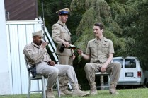 "(L-R) Jason Sanford as Constable, Noah Greene as Dauphin, and Dylan Smith as Orleans in Seattle Shakespeare Company's 2013 Wooden O production of ""Henry V."""