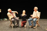 """Peter A. Jacobs as Leonato, Jennifer Lee Taylor as Beatrice, and Bill Higham as Antonio in rehearsal for """"Much Ado About Nothing."""""""