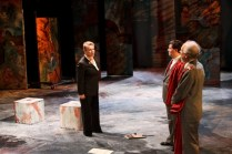 "Therese Diekhans as Volumnia, Gerald B. Browning as Junius Brutus, and David S. Klein as Sicinius Velutus in Seattle Shakespeare Company's 2012 production of ""Coriolanus."" Photo by John Ulman."