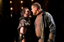 "Mke Dooly as Tullus Aufidius and David Drummond as Coriolanus in Seattle Shakespeare Company's 2012 production of ""Coriolanus."" Photo by John Ulman."