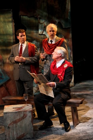 "Gerald B. Browning as Junius Brutus, David S. Klein as Sicinius Velutus, and Peter A. Jacobs as Menenius Agrippa in Seattle Shakespeare Company's 2012 production of ""Coriolanus."" Photo by John Ulman."