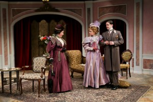 Kimberly King, Emily Grogan, and Connor Toms in The Importance of Being Earnest (2014). Photo by John Ulman.