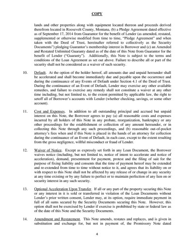 COPY 1 AMENDED AND RESTATED PROMISSORY NOTE $5,500,000.00 Odessa,