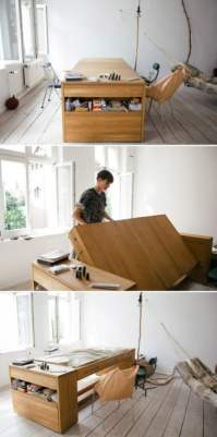 A work desk that transforms into a bed