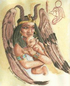 goddess_isis_and_baby_horus_by_nikkispaintings-d8n4h75