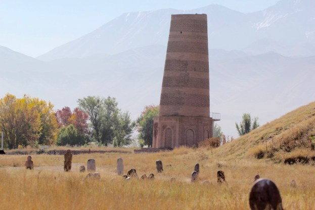 Burana Tower surrounded by Balbals in Kyrgyzstan