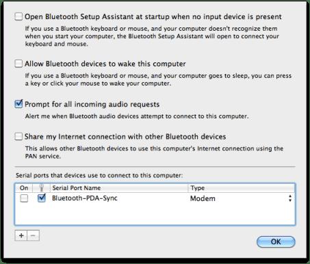 Bluetooth preferences advanced