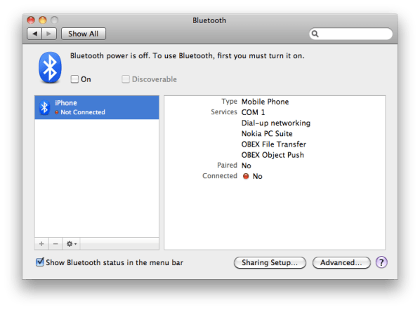 Bluetooth preferences